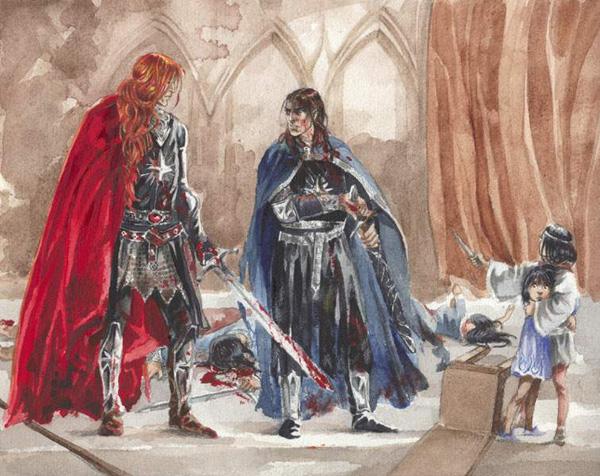 Maglor ottaa Elrondin ja Elrosin vangiksi. © Katarina Chmiel (http://kasiopea.art.pl/en/home)