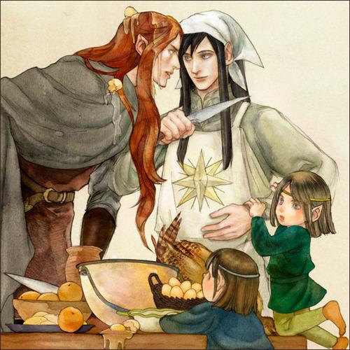 Maedhros, Maglor ja Elrond & Elros. © daLomacchi (http://dalomacchi.deviantart.com/)